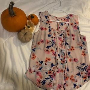 Pink Floral Sleeveless Blouse